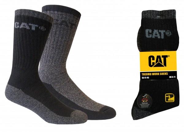 CAT Caterpillar 4/6/12 Paar schwarze Thermo Arbeitssocken in 41-45
