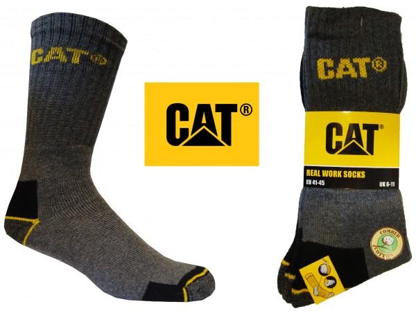 CAT Caterpillar 6/9/12/24 Paar graue Arbeitssocken in allen Größen