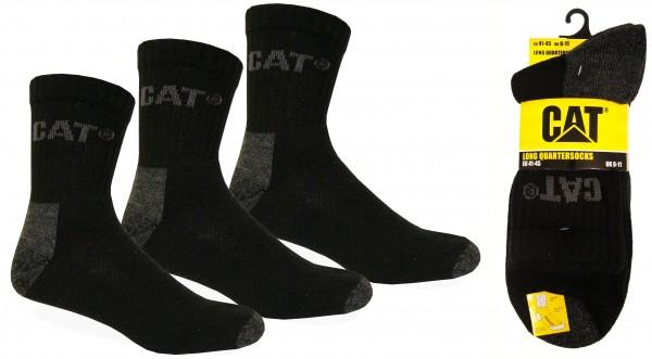 CAT Caterpillar 6|9|12|24 Paar kurze, schwarze Arbeitssocken - Quarter Socks - 41-45