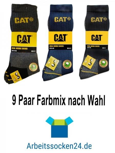 CAT Caterpillar 9 Paar Farbmix nach Wahl - lange Arbeitssocken in 41-45/46-50