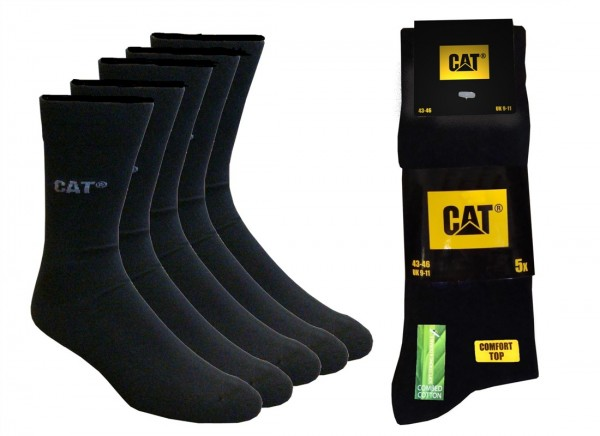 CAT Caterpillar 5|10|15|20 Paar BusinessSocken schwarz in allen Größen