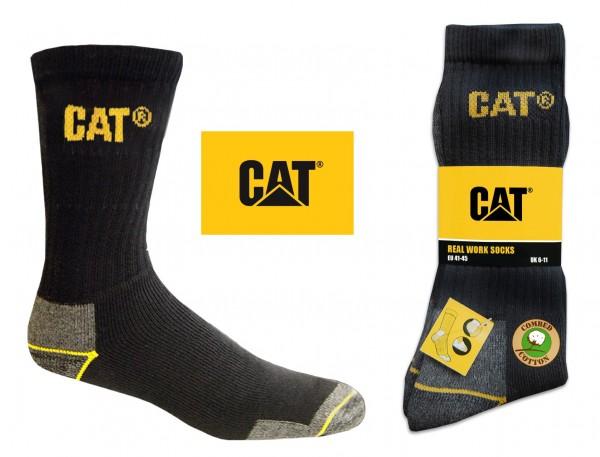 CAT Caterpillar 6/9/12/24 Paar schwarze Arbeitssocken in allen Größen