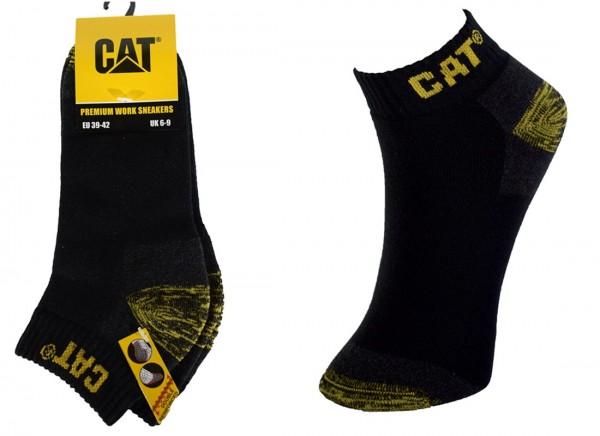 CAT Caterpillar 6|12 Paar kurze Premium Arbeitssneaker schwarz, Arbeitssocken - 39-42/43-46