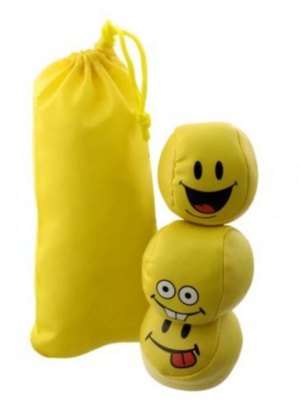 "Jonglierbälle / Stressbälle ""Happy"" 3/6/9 Stück, gelb mit Smiley-Gesichtern"