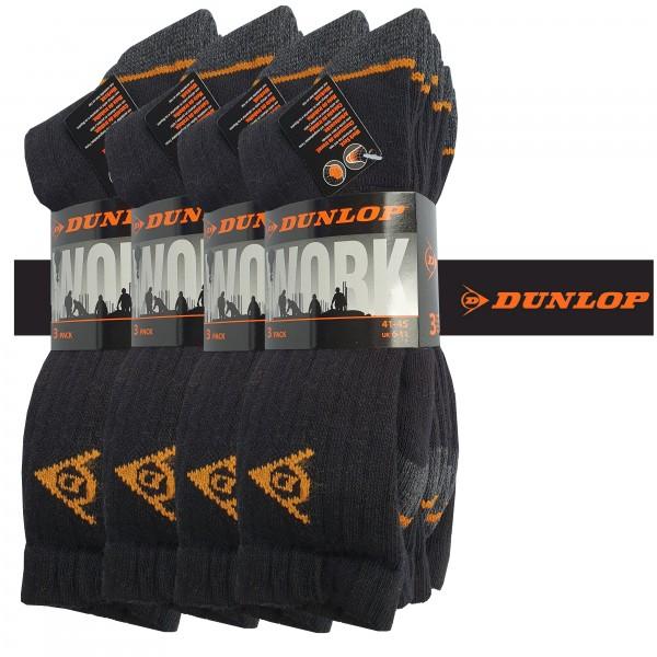Dunlop 6/9/12/24 Paar schwarze Arbeitssocken 41-45