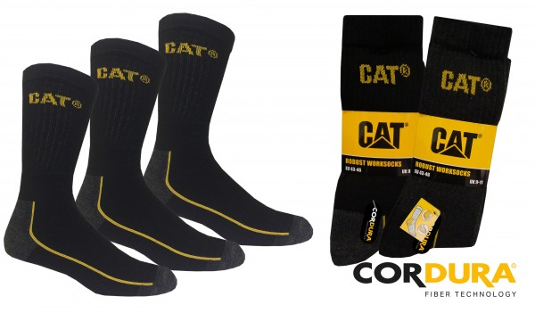 CAT Caterpillar 6 9 12 Paar lange Robust Arbeitsssocken mit Cordura - 39-42/43-46