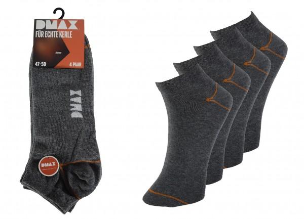 "DMAX dunkelgraue Sneakersocken ""für echte Kerle"", 4/8/12/24 Paar - alle Größen"