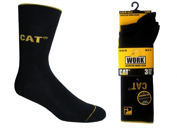 CAT Caterpillar 6/9/12/24 Paar schwarze Labor/Büro Exekutive Work Socks