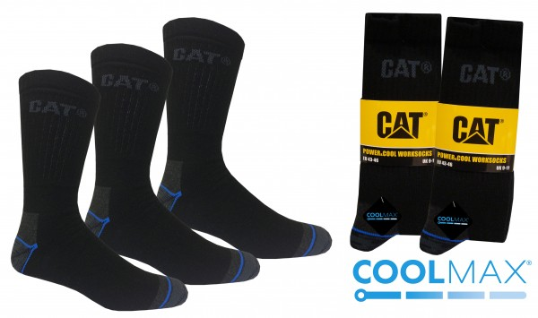 CAT Caterpillar 6|9|12 Paar Power&Cool Arbeitsssocken - 39-42/43-46